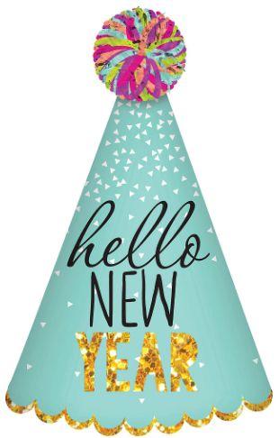 Hello New Year Cone Hat - Multi
