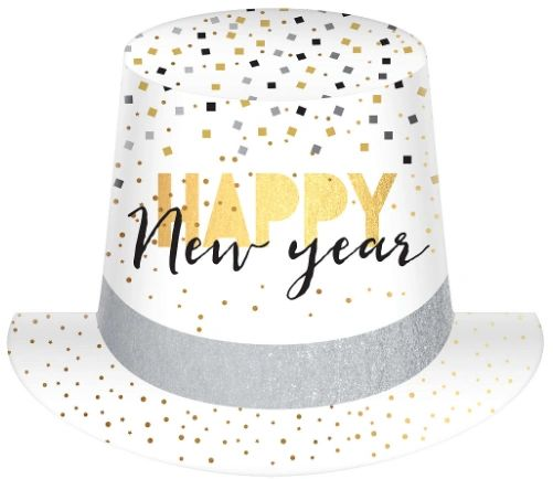 Black, Gold & Silver Confetti Happy New Year Top Hat