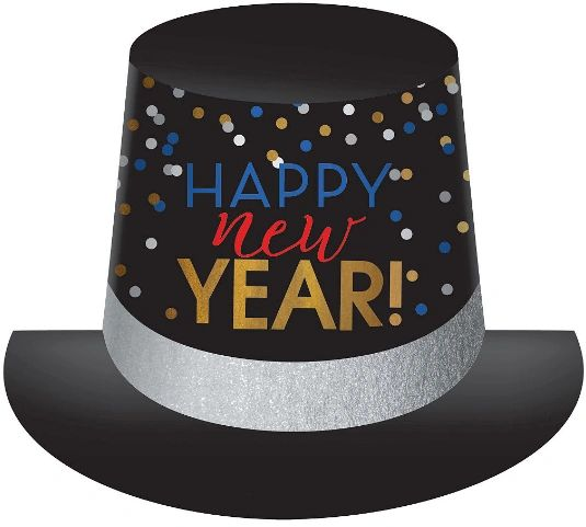 Happy New Year Multi-Color Top Hat