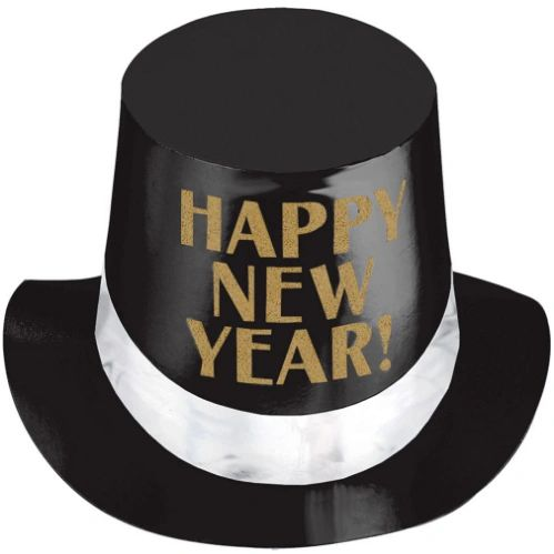 Black, Gold & White Happy New Year Top Hat