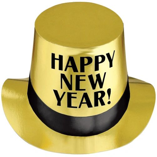 Gold & Black New Year's Top Hat