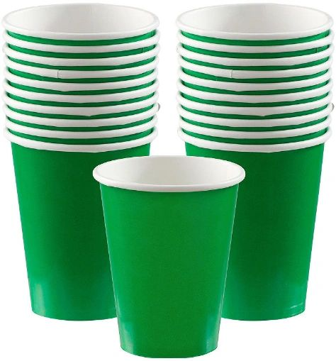 Festive Green Paper Cups, 9oz - 20ct