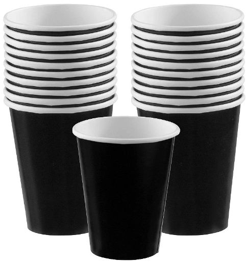 Jet Black Paper Cups, 9oz - 20ct