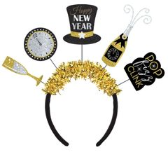 Happy New Year Multi-Icon Headband - Black, Silver, Gold