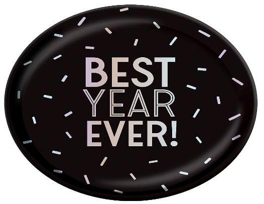 """Disco Ball Drop """"BEST YEAR EVER!"""" Oval Platter"""