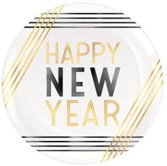 """Happy New Year Plastic Coupe Plates, 7 1/2"""" - 4ct"""