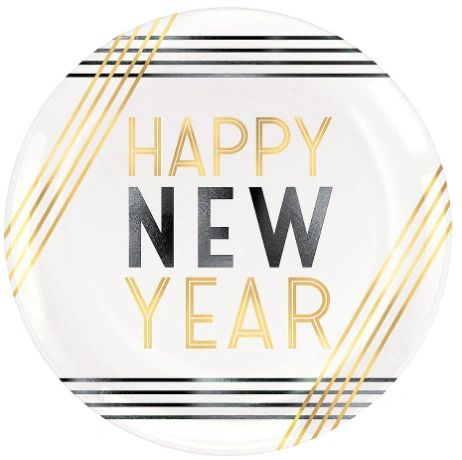 "Happy New Year Plastic Coupe Plates, 7 1/2"" - 4ct"