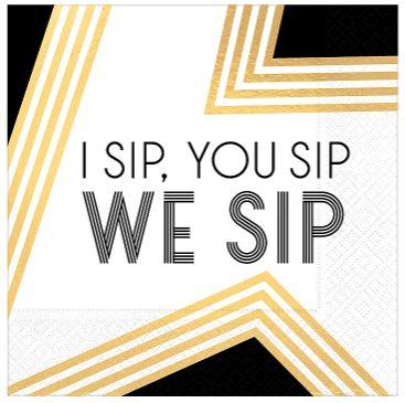Black, Gold & White We Sip Beverage Napkins, 16ct