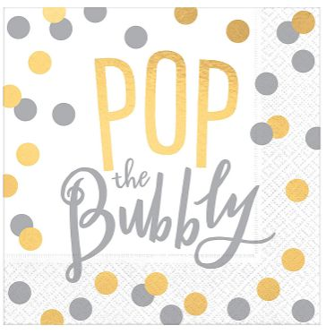 Pop the Bubbly Beverage Napkins, 16ct