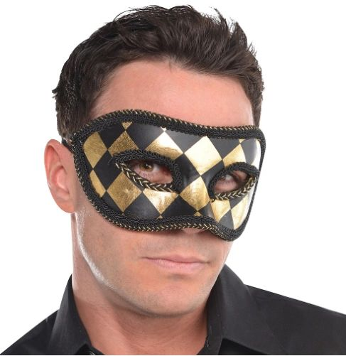 Harlequin Black & Gold Mask