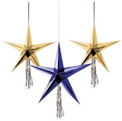 Midnight New Year's Eve 3-D Star Decorations, 3ct