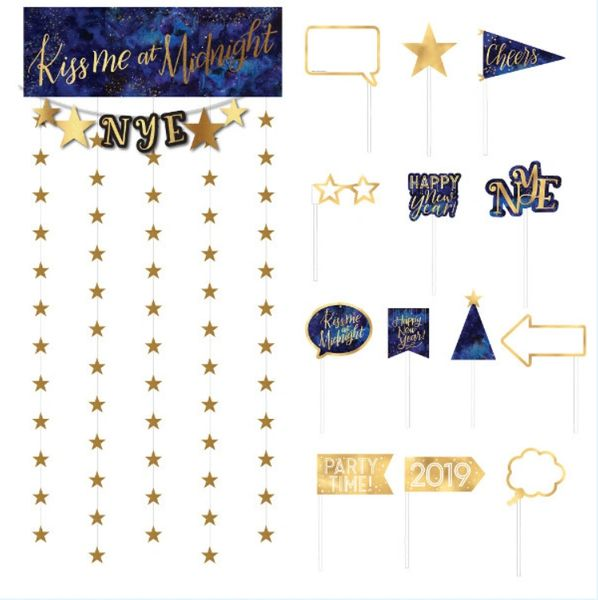 Midnight New Year's Eve Photo Booth Kit, 14pc
