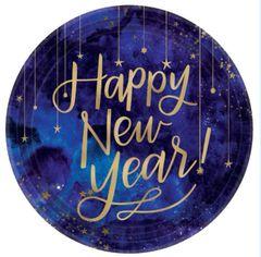 "Midnight New Year's Eve Round Metallic Plates, 10 1/2"" - 8ct"