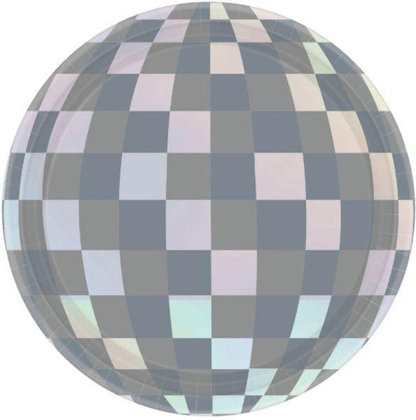 "Disco Ball Drop Iridescent Round Dessert Plates, 7"" - 8ct"