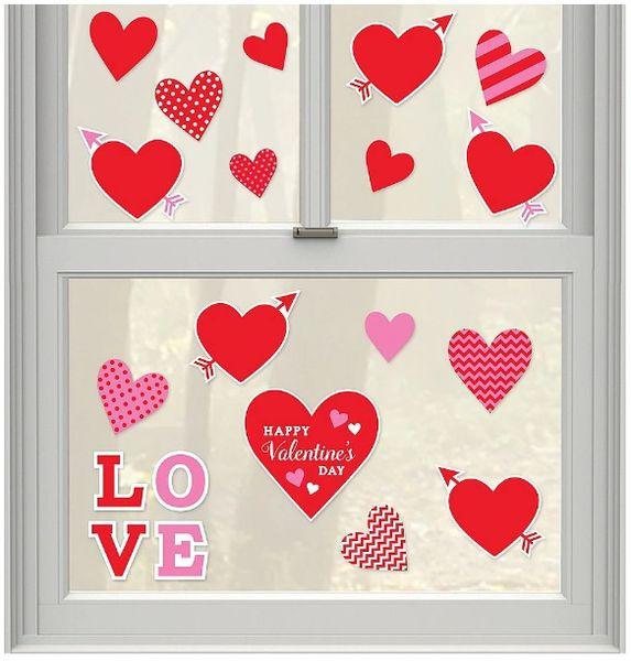 Valentine Hearts Window Decorations - Vinyl, 20ct