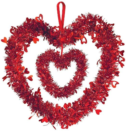 Double Heart Tinsel Decoration w/Ribbon Hanger