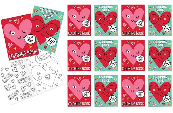 Heart Face Coloring Book Favors, 12ct