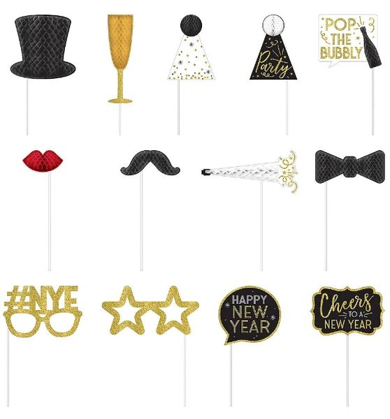 New Year's Honeycomb Photo Props Kit, 12ct