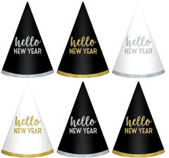 New Year's Cone Hats - Black, Silver, Gold, 6ct