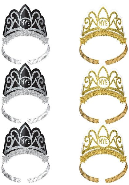 New Year's Tiaras - Black, Silver, Gold, 6ct