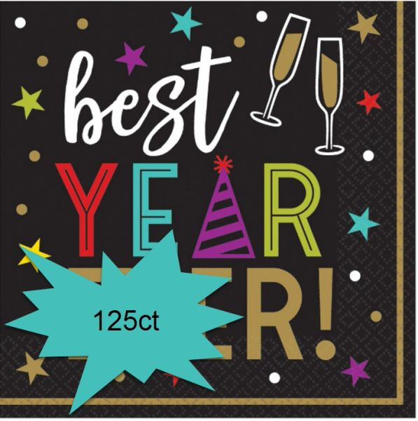 Bright New Year's Eve Beverage Napkins, 125ct