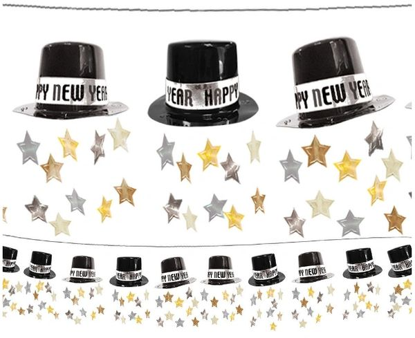 New Year's Top Hat Foil Garland - Black/Silver/Gold, 12ft