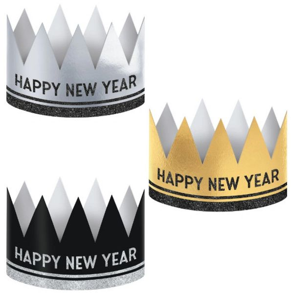 New Year's Crowns - Black, Silver, Gold, 12ct