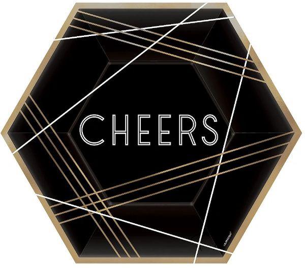 "Cheers Hexagon Plates, 9"" - 8ct"