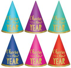New Year's Cone Hats - Multi, 6ct