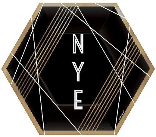 "New Year's Eve Hexagon Dessert Plates, 7"" - 8ct"