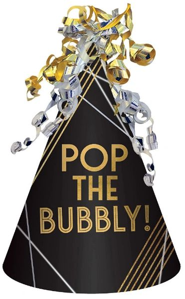 Pop The Bubbly Cone Hat - Black, Silver, Gold