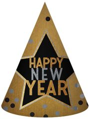 Happy New Year Cone Hat - Black, Silver, Gold