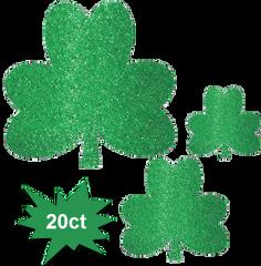 Glitter Shamrock Cutouts, 20ct
