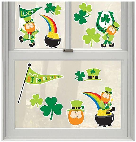St. Patrick's Day Vinyl Window Decoration, 13ct