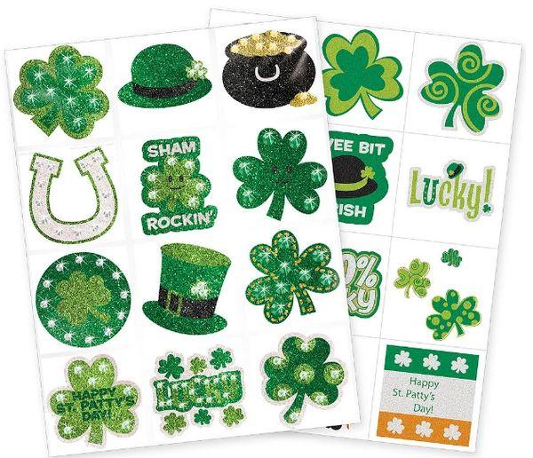 St. Patrick's Day Body Art, 24ct Sticker Tattoos
