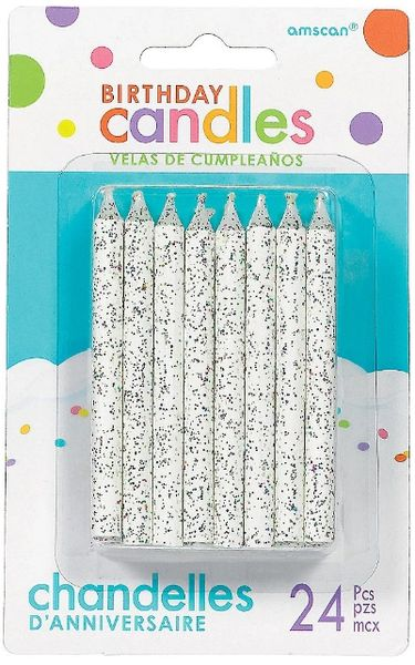 Large Glitter Spiral Candles - White, 24ct