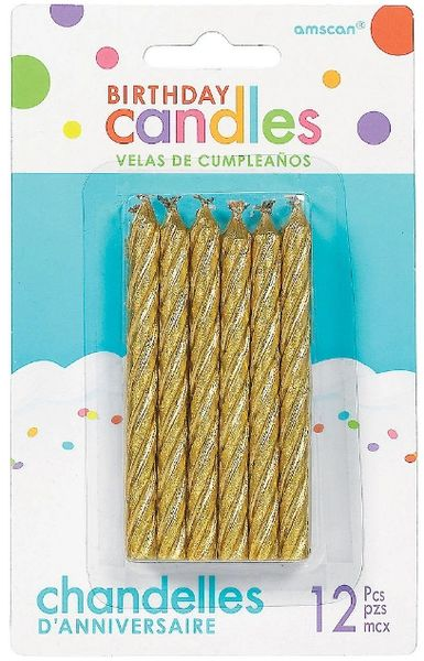 Large Spiral Candles - Gold, 12ct