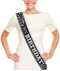 """It's My Birthday!"" Black & White Sash"