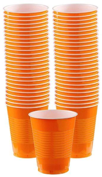 Big Party Pack Orange Plastic Cups, 16 oz - 50ct