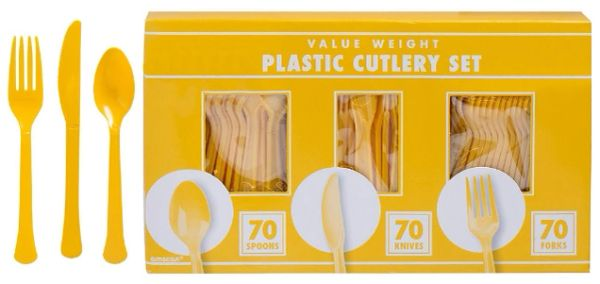 Big Party Pack Yellow Sunshine Plastic Cutlery Set, 210ct