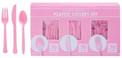 Big Party Pack New Pink Value Window Box Cutlery Set, 210ct