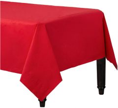 "Apple Red 3-Ply Paper Table Cover, 54"" x 108"""