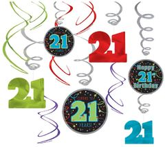 21st Brilliant Birthday Value Pack Foil Swirl Decorations, 12ct