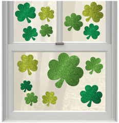 Glitter St. Patrick's Day Cling Decals, 14ct