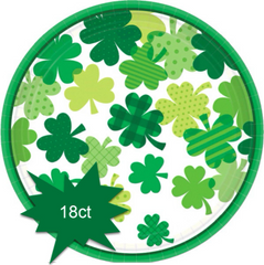 Blooming Shamrocks Round Lunch Plates, 18ct