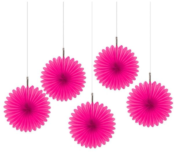 Bright Pink Mini Hanging Fan Decorations, 5ct