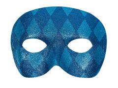 Harlequin Glitter Mask - Blue