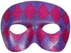 Harlequin Glitter Mask - Pink