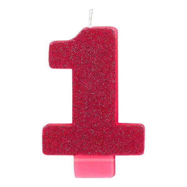 Numeral #1 Glitter Pink Candle