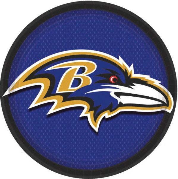 "Baltimore Ravens Round Lunch Plates, 9"" - 8ct"